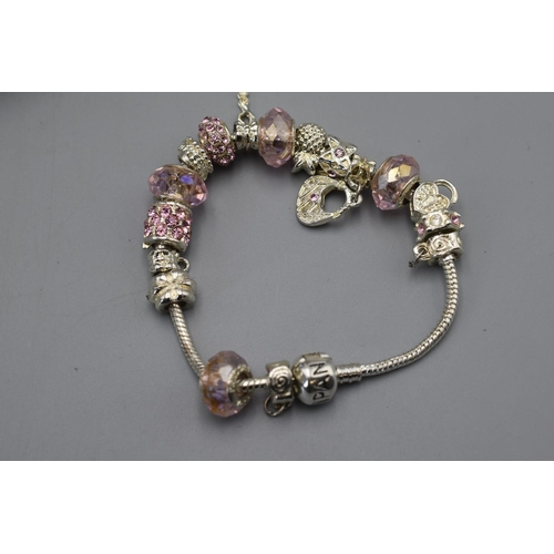 56 - Pandora Style Charm Bracelet with Case and Bag...
