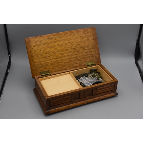 57 - Vintage Oak Musical Jewellery Box with Contents...