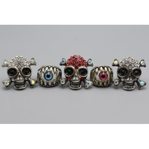 58 - Selection of 5 Goth Style Ring's (Size P)...