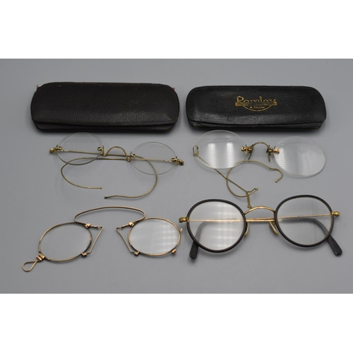 59 - Selection of 4 Victorian Pinch Neck Glasses two Complete with Cases...