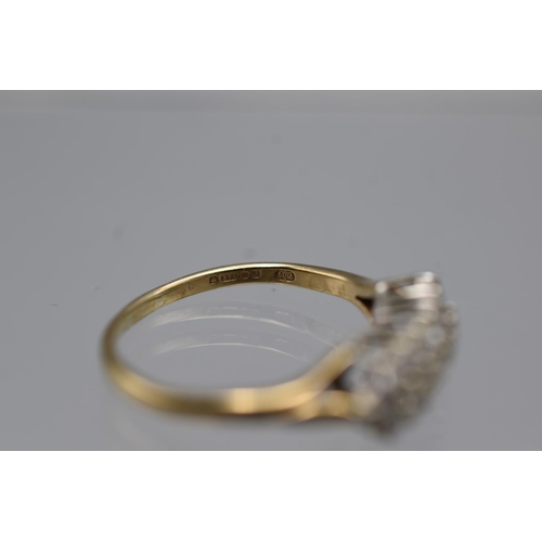 1 - Hallmarked Sheffield 375 (9ct) Gold set with 3 Row's of Diamonds approx 1/2 carat (Size N) Complete ...