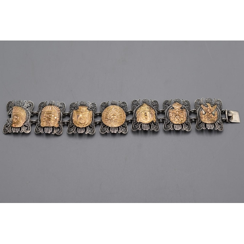 2 - Silver 925 Bracelet displaying 7 Mexican Symbol's (48.35 g) Complete with Presentation Box...