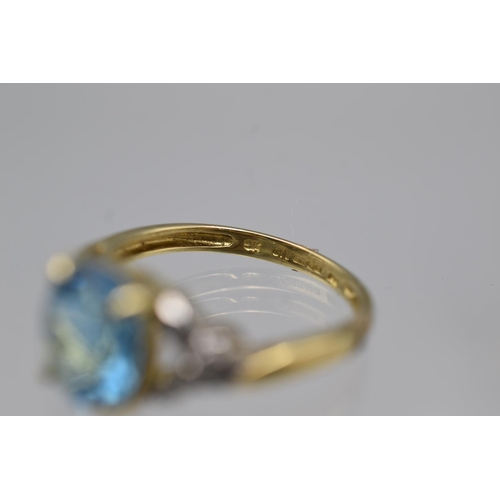 3 - Hallmarked Birmingham 375 Gold (9ct) Size N Diamond and Topaz Stoned Ring complete with Presentation...