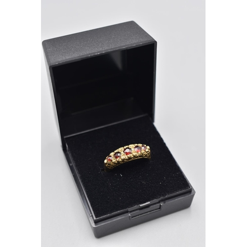 4 - Hallmarked London 375 (9ct) Size P Gold and Garnet Stoned Ring Complete with Presentation Box...