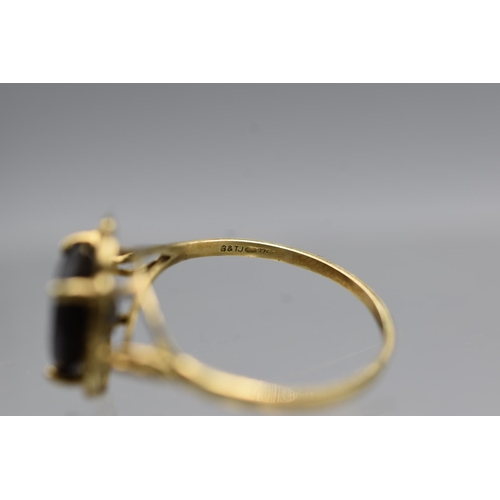 5 - Hallmarked Gold 375 (9ct) Size P Gold and Smokey Quartz Ring Complete with Presentation Box...