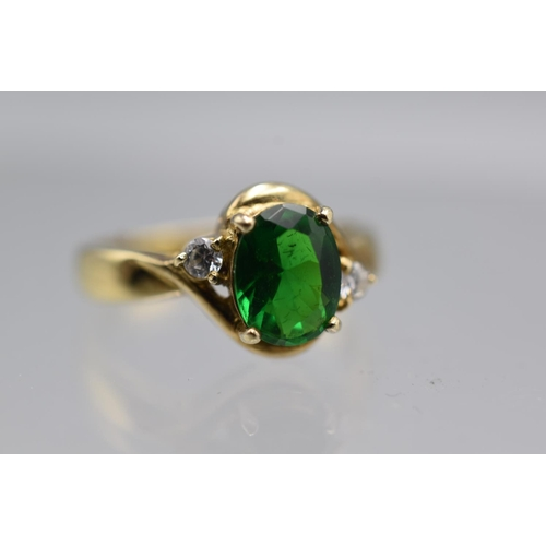 6 - Silver 925 Gold Tone Ring With Green Emerald stone Size S...