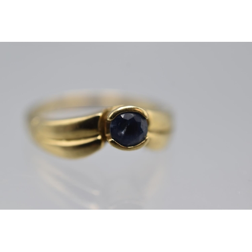 7 - Hallmarked 9ct Gold (Size N) Sapphire Stoned Ring Complete with Presentation Box...