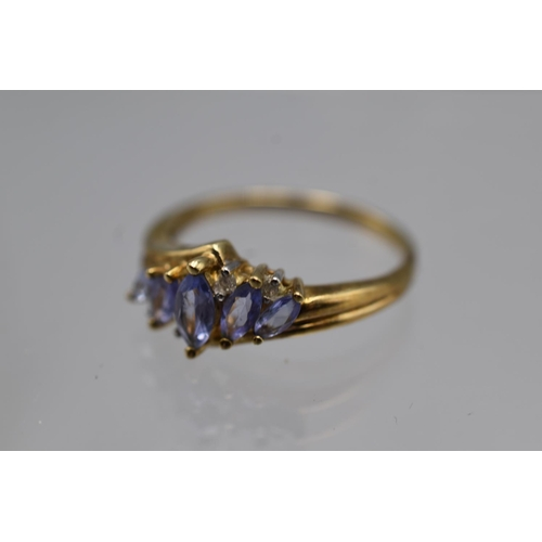 8 - Hallmarked 375 (9ct) Size Q Gold Diamond and Tanzanite Stoned Ring Complete with Presentation Box...