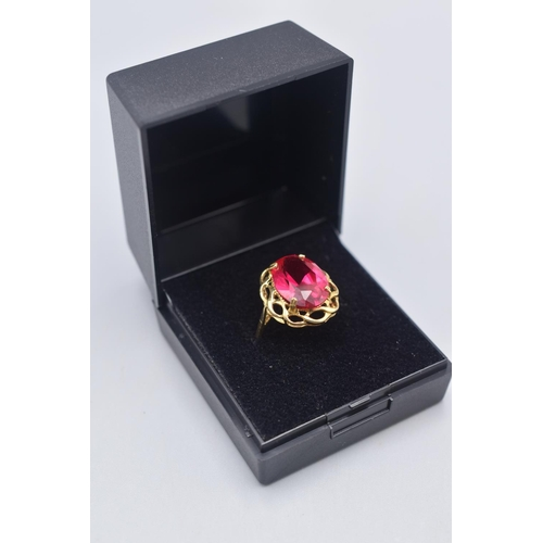 9 - Hallmarked Birmingham 375 Gold Large Red Stoned Ring (Size M) Complete with Presentation Box...
