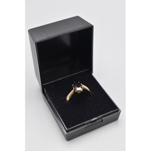 10 - Hallmarked Birmingham 375 (9ct) Gold and Garnet Stoned Ring (Size O) Complete with Presentation Box...
