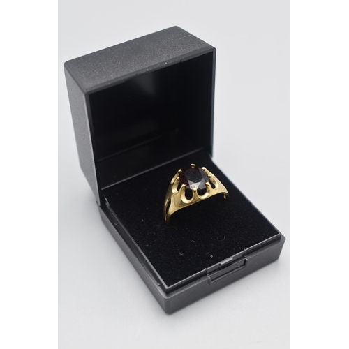 11 - Hallmarked Sheffield 375 Gold and Large Garnet Stoned Ring (Size W) Complete with Presentation Box...