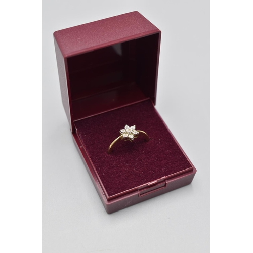 12 - Hallmarked Birmingham 375 (9ct) Size O Gold and Diamond Ring Complete with Presentation Box...