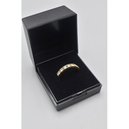 13 - Hallmarked Sheffield 375 Gold Multi Stoned Half band Ring (Size R) Complete with Presentation Box...