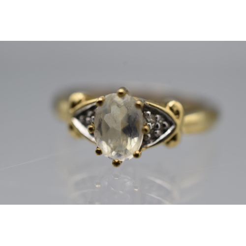 14 - Hallmarked Birmingham 375 (9ct) Size N Moonstone Ring Complete with Presentation Box...