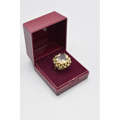 15 - Gold 9ct Citrine Stoned Ring (Size N) Complete with Presentation Box...