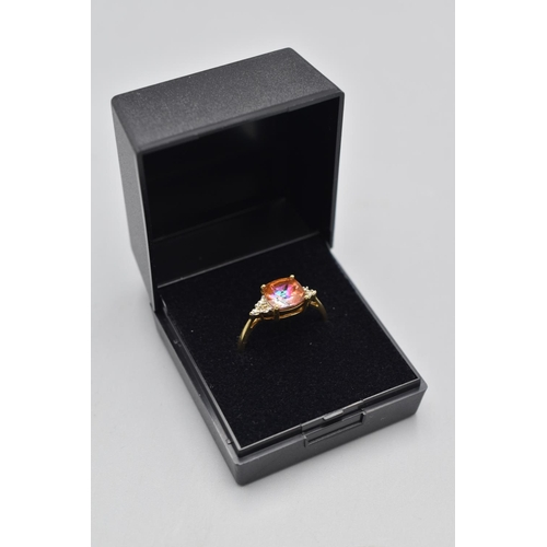 17 - Hallmarked Birmingham 375 (9ct) Size Q Diamond and Pink Topaz Stoned Ring Complete with Presentation...