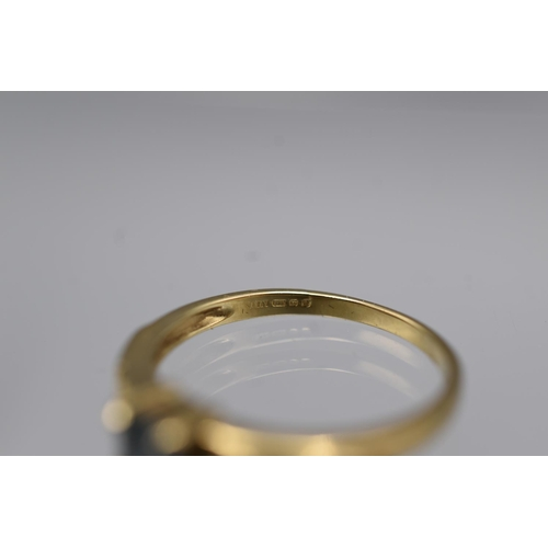 18 - Hallmarked Birmingham 375 (9ct) Gold Solitaire Sapphire Ring Complete with Presentation Box...