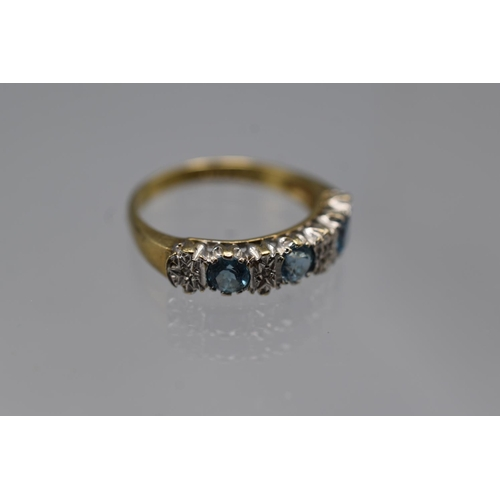 19 - Hallmarked London 375 (9ct) Size K Diamond and Turquoise Stoned Ring Complete with Presentation Box...