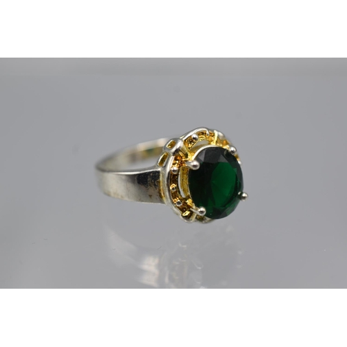 21 - Silver 925 Green Stoned Ring (Size P) Complete with Presentation Box...