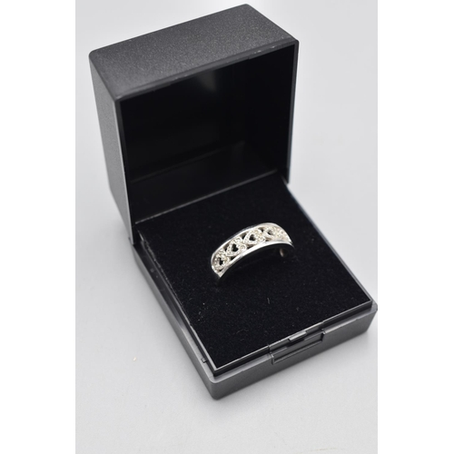 22 - Hallmarked 375 (9ct) Size O White Gold Ring Complete with Presentation Box...