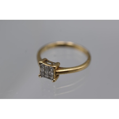 23 - Hallmarked Birmingham 375 (9ct) Size N Gold Ring with .25 carat Diamond Complete with Presentation B...