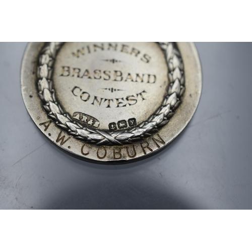 25 - Hallmarked Birmingham Silver and Enamel British Legion Brass Band Winners Medal dated 1923...