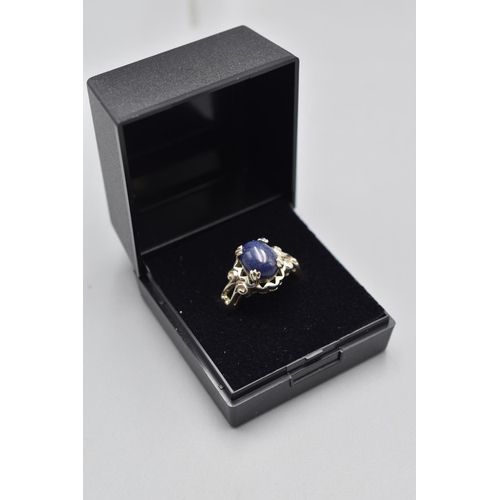 28 - Hallmarked Birmingham Silver 925 Lapis Stoned Ring (Size N) Complete with Presentation Box...