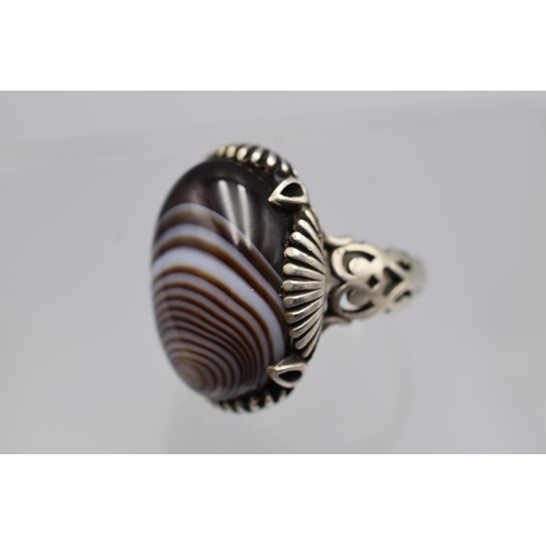 33 - Banded Agate in Heavy Silver Ring (Size S) Complete with Presentation Box...