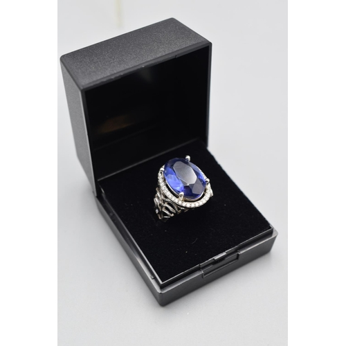 35 - Silver 925 Princess Diana Style Ring (Size L) Complete with Presentation Box...