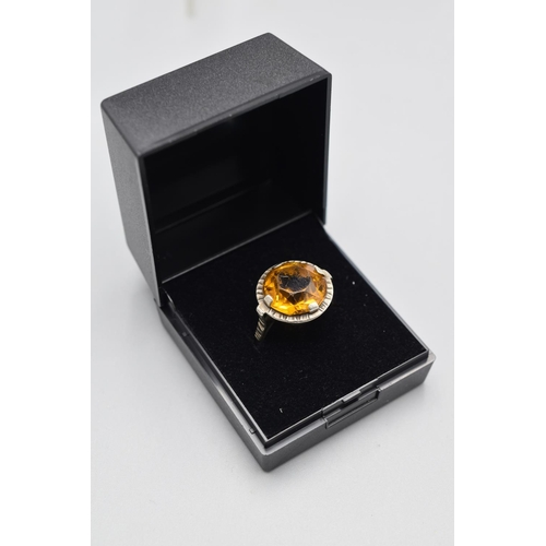 37 - Scottish Cairngorm Silver Ring Complete with Presentation Box...