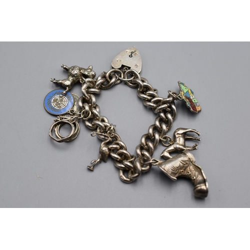 52 - Hallmarked Birmingham Silver Charm Bracelet With Boot Charm and Five more...