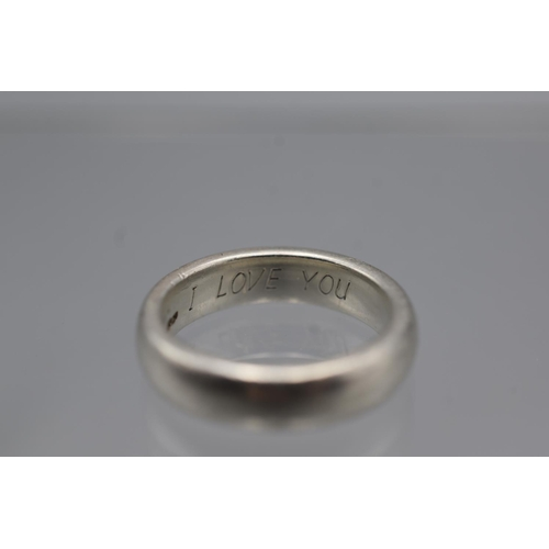 53 - Hallmarked Silver 925 Wedding Band inscribed 'I Love You' Size M...