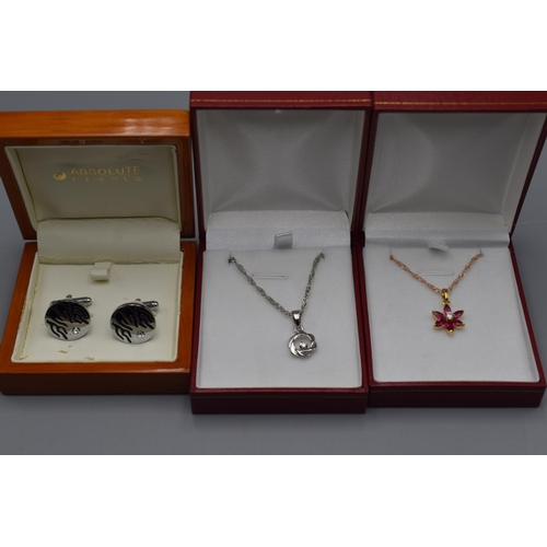 55 - Two Boxed Costume Necklaces and Pendants in Presentation Boxes and a Boxed Set of Cufflinks...