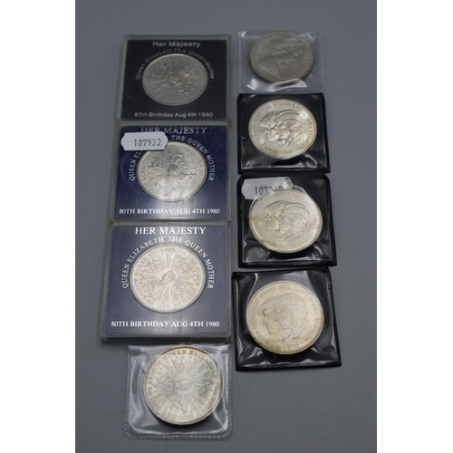 59 - 4 x Prince Charles & Lady Diana One Crown Coins and 4 x Queen Mother 80th Birthday One Crown Coins...