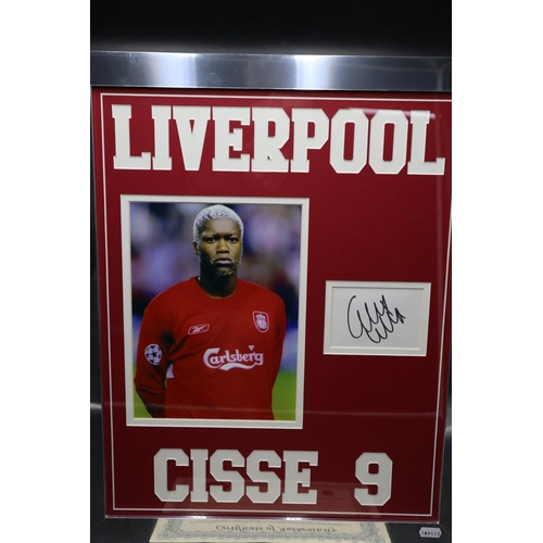 33 - Framed and Glazed Autograph With Photo of Liverpool Football Club No9 Cisse. 22.5 x 18.5 Inches...