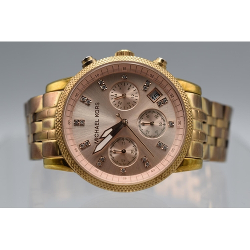 90 - Ladies Michael Kors Rose Gold Coloured Watch (Requires Battery) Unauthenticated...