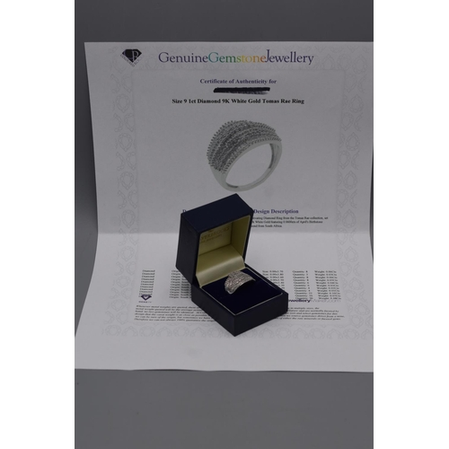 124 - White Gold 9ct Thomas Rae 1ct Diamond Ring (Size S) Complete with Presentation Box
