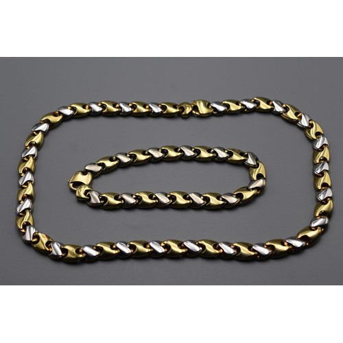 2 - Reversible Matching Necklace and Bracelet in Yellow and White Gold 375 (9ct) Total Weight 78.1 grams