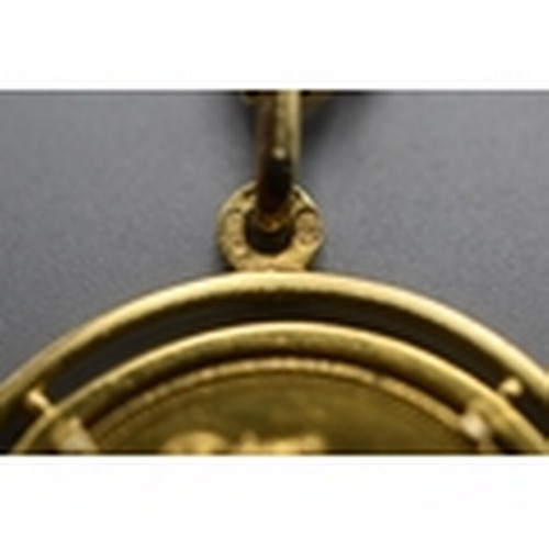 6 - George V 1914 Perth Mint Sovereign in 9ct Gold Mount and Frame (Total weight 27.80 grams)