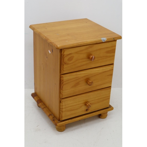 372 - Pine Three Drawer Bedside Table 24