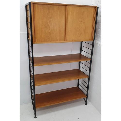 373 - Staples Ladderax Mid-Century Teak shelving system (64