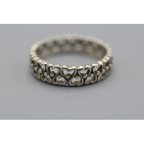 7 - Silver 925 Love Heart Ring size