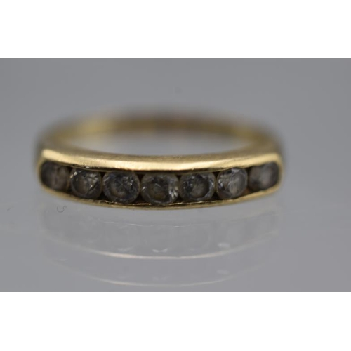 10 - Hallmarked 9ct Gold and CZ Stoned Half Eternity Ring (Size L) Complete with Presentation Box