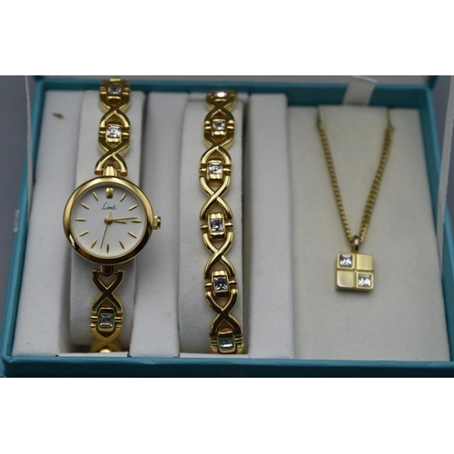 21 - Limit Watch, Bracelet and Necklace Set Complete with Display Case