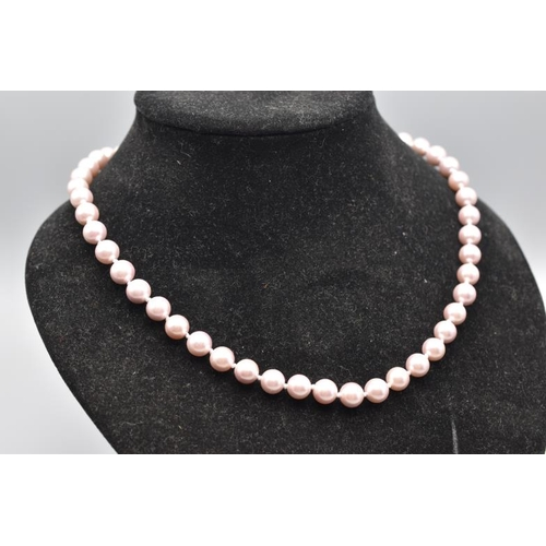 25 - M & M Fresh Water Pin Pearl Necklace with Heart Shaped Clasp