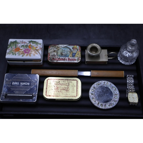 32 - Collectors Lot including Matchbox Candleholder, Japanese Trinket Box, Rotary Watch and More