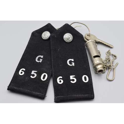 47 - Two Metropolitan Police Badge Numbers and The Metropolitan Whistle