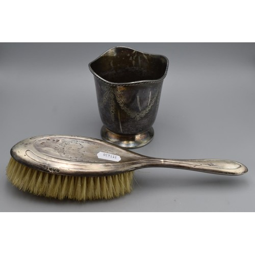 48 - Hall Silver Hair Brush and Silver plated Pot