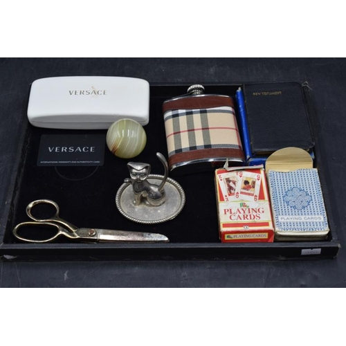 49 - Mixed Tray to include Versace Glasses Case, Hip Flask, Tailors Scissors, Marble Ball, Ring Holder an...