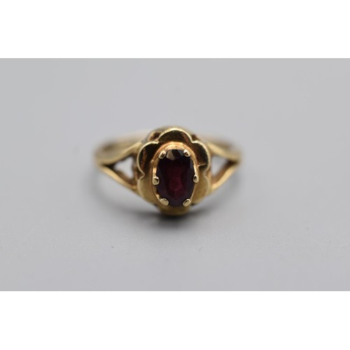 2 - 9ct Gold Ruby Stoned Ring with presentation case (Size J 1/2)